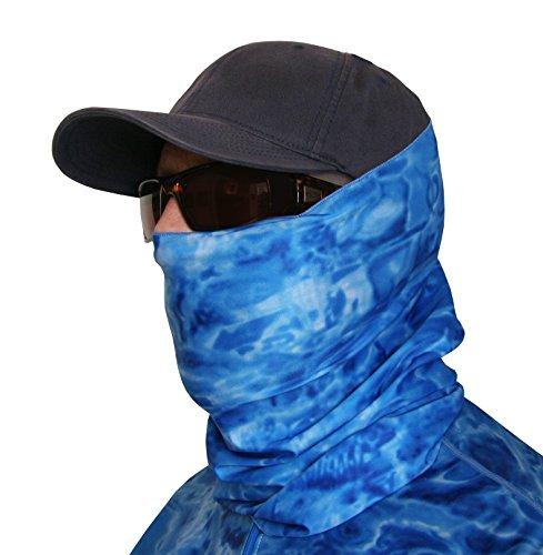 Aqua Design Hunting Fishing Mask Camo Multipurpose Face Tube Wind Sun Protection Shield Bandana Youth to XL Headband Gaiter Royal Ripple XL
