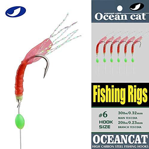 OCEAN CAT 5102550100 Packs Fishing Rigs 6 HookSet Red Skin Rubber Silk String Hook Fishing Lure Saltwater Freshwater Bait Rig Tackle 5678910