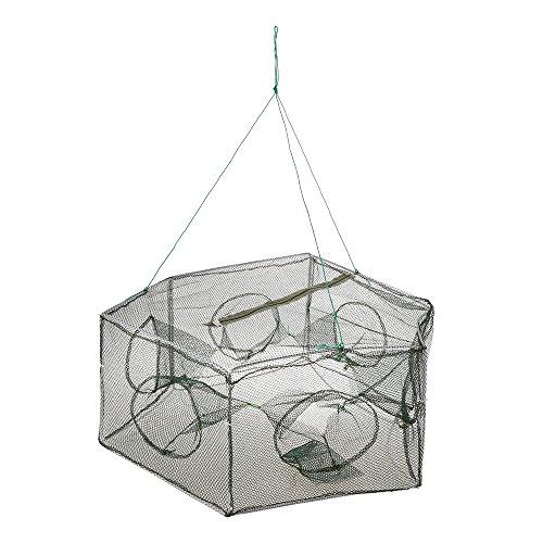 Lixada Foldable Fishing Net Hexagon 6 Hole Fishing Net Shrimp Cage Trap Minnow Crab Baits Mesh Trap Net