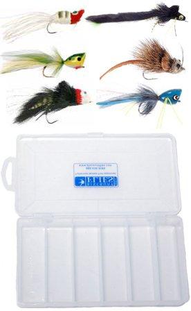 Top Water Bass Pike Fly Assortment - 6 Flies  Fly Box
