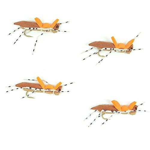 Morrish Hopper Foam Body High Visibility Grasshopper Dry Fly Fishing Fly - 4 Flies - TanBrown - Hook Size 8 - Hopper Dropper Indicator Fly