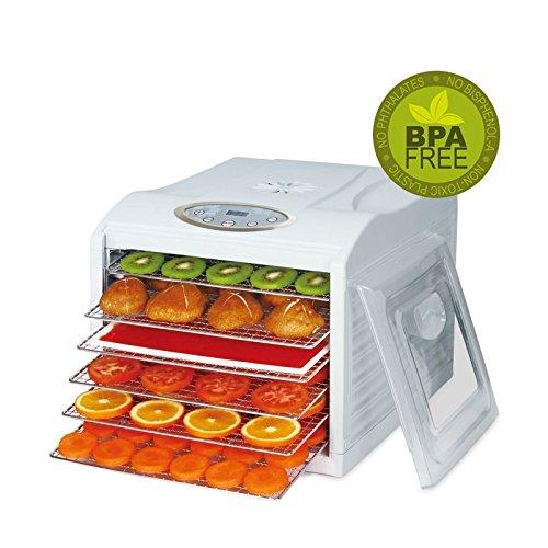 BioChef Arizona Sol Food Dehydrator 6 x BPA FREE Stainless Steel Drying Trays Digital Timer - Includes 1 x Non Stick 1 x Fine Mesh Sheet Drip Tray Best Drier for Raw Food Fruit Jerky