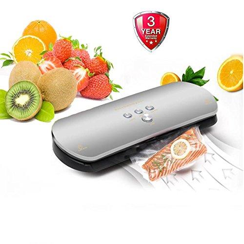 Vacuum Sealer For Foodautomatic vacuum food sealer with starter Pack of Bag rolls Dark Silver