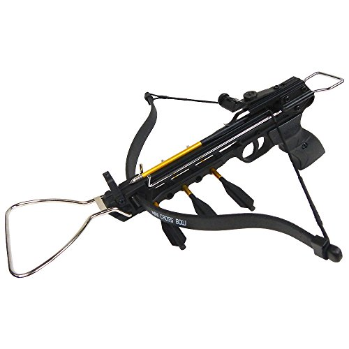 iGlow 80 lb Black Aluminum Hunting Pistol Crossbow Bow with Build-In Arrow Holder 15 Bolts 2 Strings 175 150 50
