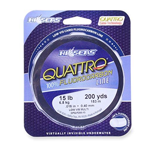 Hi-Seas Quattro 100 Fluorocarbon Line 8 Pound Test 4 Color Camo 1000-Yard
