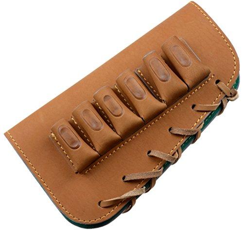 Buttstock shotgun shell holder holds 6 shotgun shells genuine leather right handed