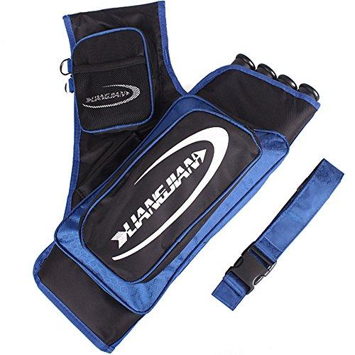 Krayney 4-Tubes Hip Quiver Waist Hanged Camouflage Arrow Archery Carry Bag with Pockets Adjustable Belt Blue
