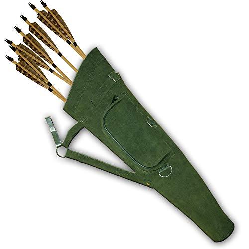 Carol Traditional SideHipBeltWaist Suede Leather Arrow Quiver AQ117 RH Green