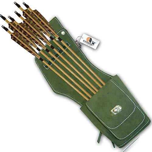 Carol Traditional SideHipBeltWaist Suede Leather Arrow Quiver AQ142S RH Green