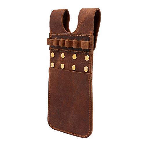 MagiDeal Cow Leather Archery Arrow Quiver Holder Side Hip Belt Bag Pocket - Brown