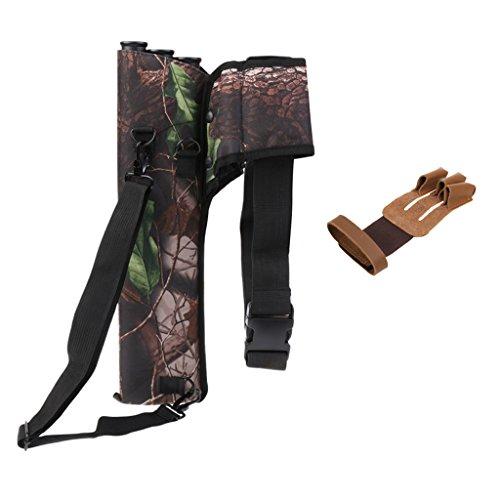 MonkeyJack Outdoor Archery Bow Arrow Holder 3 Tubes Shoulder Strap Back  Side Belt Quiver 3 Fingers Glove Hand  Fingers Guard Protection