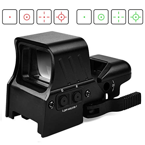 EZshoot 1X22X32 Red Green Dot Sight Gun Sight 4 Reticles Reflex Sight Quick Detach Mount 20mm RailUpgraded Version