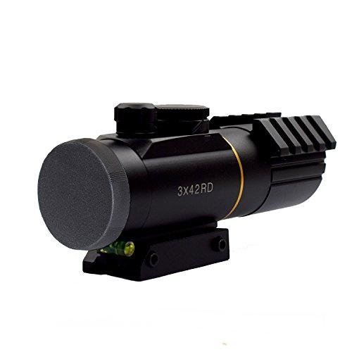 Twod Rifle Scope 3X42mm Red Dot Reflex Sight with 11mm22mm Weaver Picatinny Mount Seven Brightness Settings