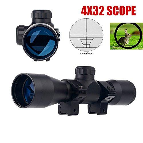 UUQ Tactical 4X32 Compact 223 308 Scope Rangefinder Reticlew Ring Mounts