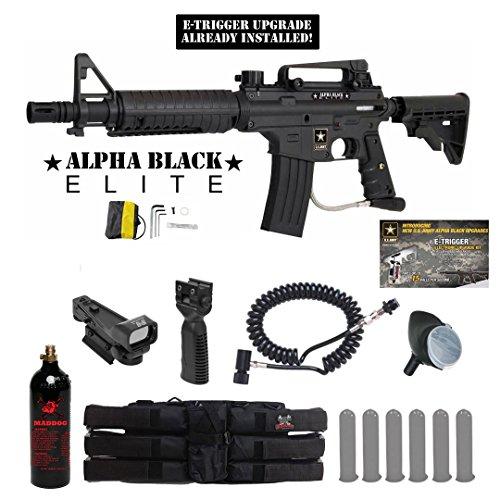 Tippmann US Army Alpha Black Elite w E-Grip Tactical Red Dot Paintball Gun Package - Black