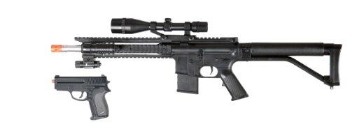 bbtac p1137 airsoft gun spring airsoft rifle w scope tactical red dot light flashlight and bonus spring airsoft pistol in combo box with bbtac warrantyAirsoft Gun