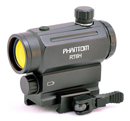 Mini Red Dot Sight QD Cam Lock Phantom RT6H Mini Micro Red Dotx 40mm Sight with Ambient Light Sensor QD Quick Detach Cam Lever Mount AAA Battery Anodized Matte Black Ruby Coated Lens