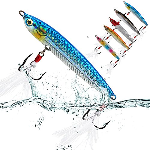 Sougayilang Fishing Jigging Lures for Saltwater Freshwater 15oz Deep Water Sinking Hard Fishing Spoons Tackle Baits