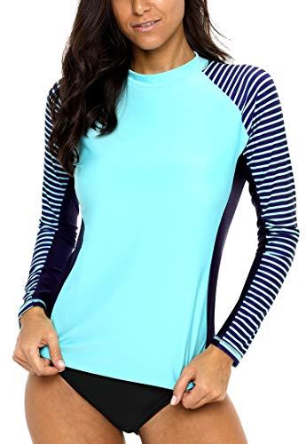 ATTRACO Swim Shirts for Women Long Sleeve Rashguard Stripped Print Sun Shirts