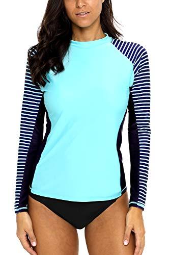 CharmLeaks Womens Long Sleeve Rashguard UPF 50 Sun Protection Swimsuit Top Striped Swim Shirts