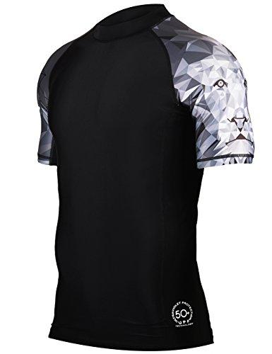 HUGE SPORTS Mens Splice UV Sun Protection UPF 50 Skins Rash Guard Short Sleeves