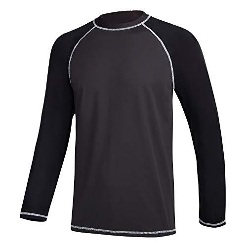 Satankud Mens Swim Shirts Rashguard Sun Shirt UPF 50 UV Sun Protection Outdoor Long Sleeve T-Shirt Swimwear