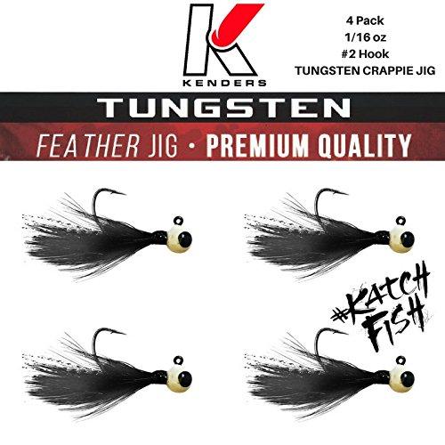 4 pack TUNGSTEN FEATHER CRAPPIE JIG - Kenders - 116 oz - 2 Hook BLACK