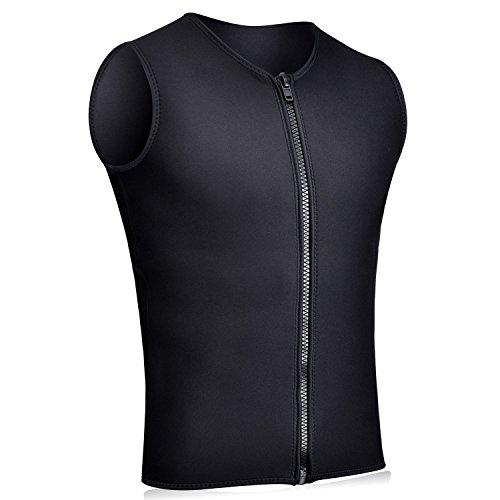 REALON Wetsuits Vest Mens Top Premium Shirt Neoprene 3mm Sleeveless front Zipper Sports XSPAN for Scuba Diving Surfing Swim Snorkel Suit Black XXXL