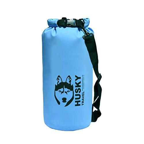 Waterproof Dry Bag 5L  10L - Roll Top PVC Sack Keeps Gear Dry for Kayak Canoe Boat Beach Rafting Hiking Snowboarding Water Park Camping Fishing - Shoulder Strap Blue 10L