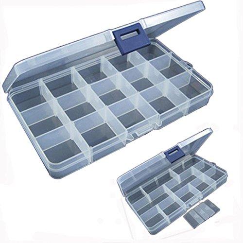 Han Shi Fishing Lure Box 15 Slots Adjustable Plastic Fishing Bait Hook Tackle Box Container Dividers Storage Case Organizer