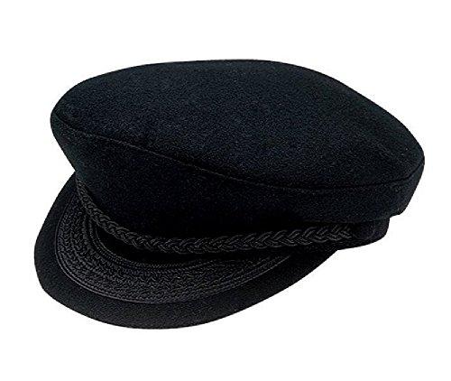 Black Wool Greek Fisherman Cap XL