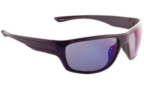 Fisherman Eyewear Striper Sunglasses with Blue Mirror Polarized Lens Black Large