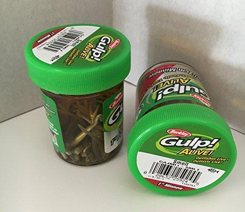 GULP Bait 1 INCH SMELT MINNOW 2 jar bundle BERKLEY gulp Alive perch minnows ice fishing bait Panfish minnows