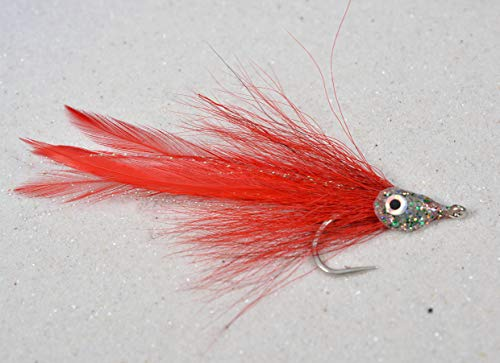 3 Flies  Red Racer Tarpon Saltwater Streamer Fly  30 Mustad Signature Fly Hooks - Target Redfish Snook Barracuda Shark Tuna and Nearly All Other Saltwater Species