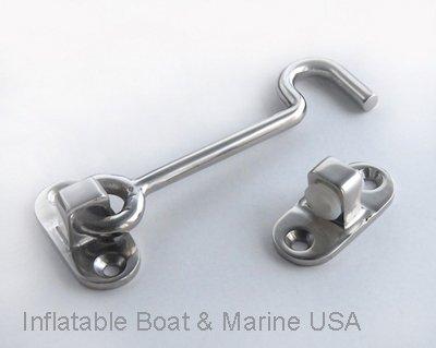Boat Latch  Catch - Hook and Eye -Door Window Cabinet - 4-12 Marine 316 Stainless Steel