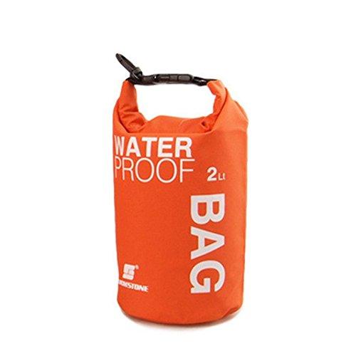 BinmerTM Sports Waterproof Dry Bag 2L 5L 10L Backpack Pouch for Canoe Kayak Rafting Mobile Phone Camera Orange 2L