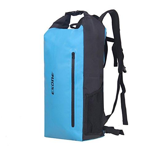 ESONE Waterproof Roll Top Dry Bag Backpack for Outdoor Snowboarding Kayaking Hiking Boating Camping blue