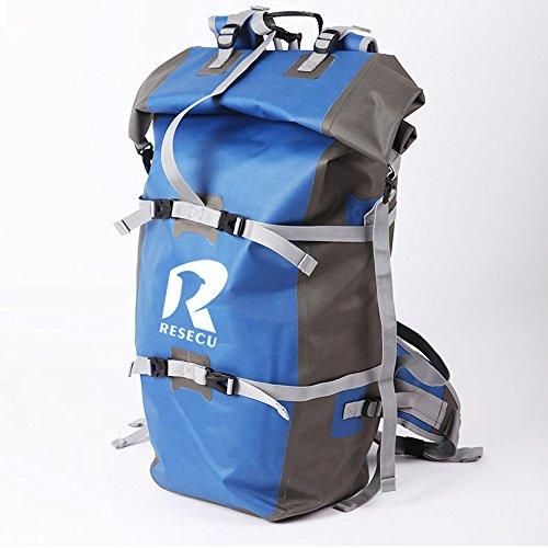 Resecu 100 Waterproof Backpack - Dry Bag Closure Daypack - 50L for Water Sports Adventure Travel Motorcycle Trips or Bike Commuting Blue