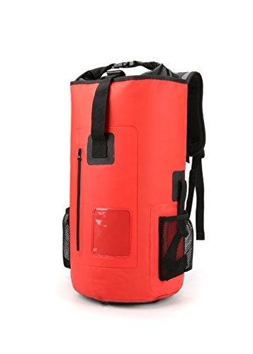 Waterproof Backpack Dry Bag Zipper Pocket Outdoor Padded Shoulder Straps 30 L Red