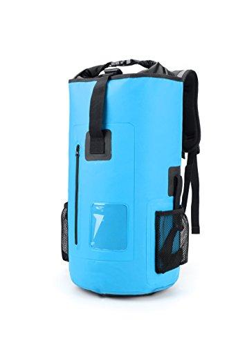 Waterproof Backpack Dry Bag Zipper Pocket Outdoor Padded Shoulder Straps 30L Lake blue