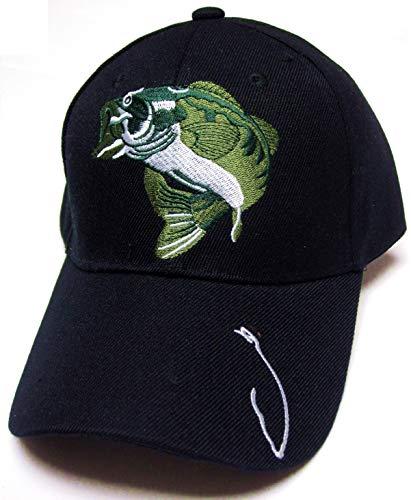 TFA Largemouth Bass Fish Fishing Hook Black Hat Cap Adult Mens Adjustable