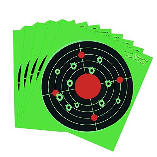 Splatter Targets - 8 Inch Bullseye Reactive Shooting Target- Shots Burst Bright Fluorescent Green Upon Impact - Gun - Rifle - Pistol - AirSoft - BB Gun - Pellet Gun - Air Rifle 25PCSPack