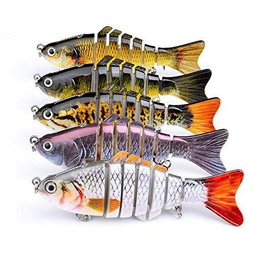 Isafish Swimbait Bionic Multi Jointed 7-Segement Pike Muskie Fishing Lure Swimbaits For Bass Crankbait with Hooks Minnow Hard Bait 394 Inch 055 Ounce