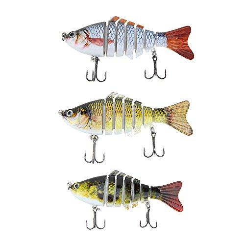 Lixada 10cm4 155g Bionic Multi Jointed Fishing Lure SUN-FISH Lifelike Hard Bait Bass Yellow Perch Walleye Pike Muskie Roach Trout Swimbait Style 1 3 4