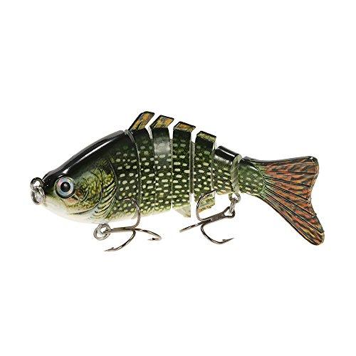 Lixada 10cm4 155g Bionic Multi Jointed Fishing Lure SUN-FISH Lifelike Hard Bait Bass Yellow Perch Walleye Pike Muskie Roach Trout Swimbait Style 7