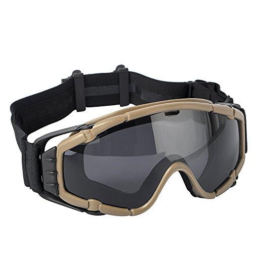 TB-FMA Tactical Anti-Fog SI-Ballistic Regulator Goggles with Fan Airsoft Glasses for Ski Bike Sports Dark Earth