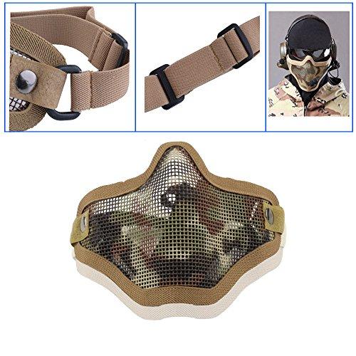 iFun iCool Strike Metal Mesh Mask Protective Mask Half Face Tactical Airsoft Military Mask - Tan
