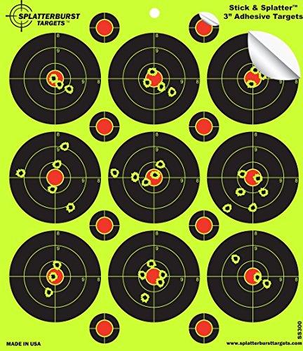 Splatterburst Targets - 3 inch Adhesive Stick Splatter Reactive Shooting Targets - Gun - Rifle - Pistol - AirSoft - BB Gun - Pellet Gun - Air Rifle 25 pack