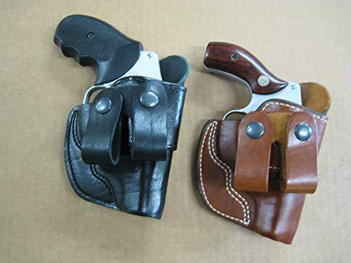 Azula Dual Belt Loop IWB Molded Leather Concealed Carry Holster for Taurus 85 605 2 Inch Barrel Steel Frame Revolver - Black RH