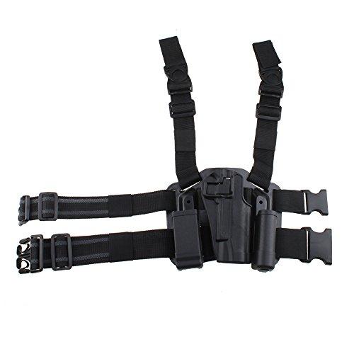 AGPtek Military Special Forces Quick Release Tactical Right Hand Paddle  Leg Belt Hard Drop Leg Holster for Colt 1911 Black